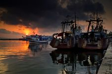 Free Ships At Sunset Royalty Free Stock Photography - 16163147