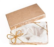 Free Open Gift Boxes With Gold Ribbon Stock Images - 16163394