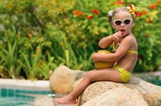 Free Portrait Of Cute Toddler Girl With Coconut Stock Photos - 16163913
