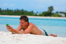 Free Man Have A Fun On Exotic Beach Stock Photo - 16164020