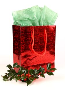Free Red Christmas Gift Bag With Holly Royalty Free Stock Images - 16164349