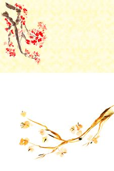 Background With Plum Blossom Stock Photo