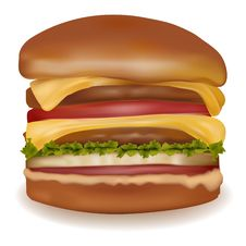 Free Big Cheeseburger. Royalty Free Stock Photo - 16165085