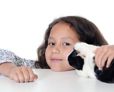 Free Pretty Girl With Guinea Pig Stock Images - 16165734