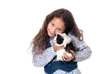 Free Pretty Girl With Guinea Pig Royalty Free Stock Photos - 16165748