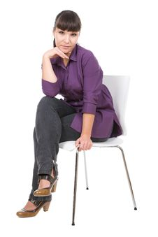 Free Woman With Chair Royalty Free Stock Images - 16165749