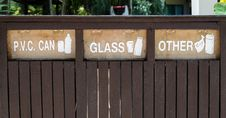 Free Containers Signs For Garbage Separation Royalty Free Stock Photography - 16165847