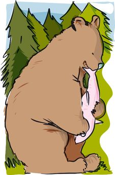 Free Cartoon Bear Eating Stock Image - 16165961