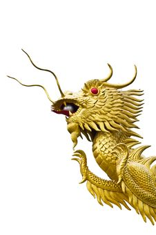 Golden Dragon Head  Statue Royalty Free Stock Photography