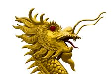 Golden Dragon Head  Statue Royalty Free Stock Image