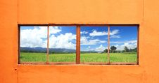 Free Green Rice Farm Behind The Window Stock Photography - 16166402