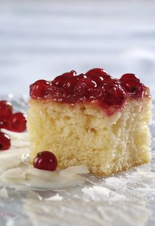 Free Sponge Cake Topped With Red Currants Royalty Free Stock Photo - 16166915
