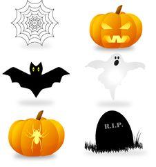 Free Halloween Symbols Set Royalty Free Stock Photos - 16167408