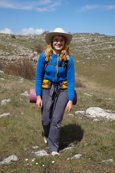 Free Smiling Backpacker Girl Royalty Free Stock Image - 16169176