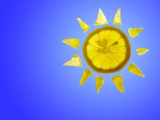 Free Sun Lemon With Blue Copyspace Stock Images - 16169444
