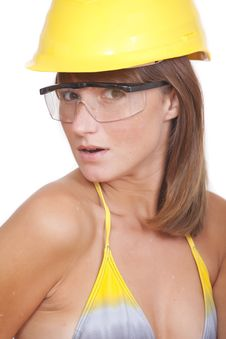 Free Woman In Yellow Helmet Stock Photography - 16169922