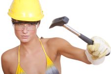 Free Woman With Hammer Royalty Free Stock Photos - 16169968