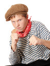 Free Ready To Fight Teenage Dressed In Seaman Shirt Royalty Free Stock Photo - 16174695
