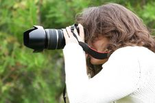 Girl Taking Picture On Nature Stock Photography