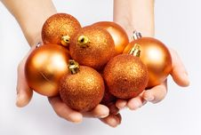 Free Female Hands With Christmas Spheres Royalty Free Stock Images - 16170679