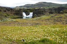 Hjalparfoss Waterfall, Iceland. Stock Photo