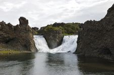 Hjalparfoss Waterfall, Iceland. Stock Photos