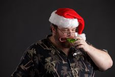 Free Obese Man In Santa Hat Royalty Free Stock Photo - 16171195