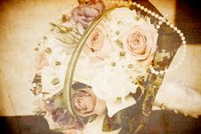 Vintage Card With Bridal Bouquet Stock Photography