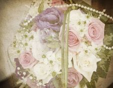 Vintage Card With Bridal Bouquet Royalty Free Stock Photos