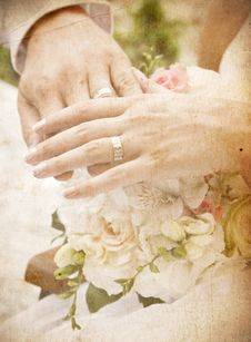 Free Vintage Card With Hands And Rings Royalty Free Stock Photo - 16171385