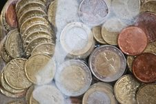 Shiny Euro Coins Frozen In Ice Royalty Free Stock Photos