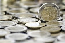 Free 2 Euro Coin With Coins On Background Royalty Free Stock Image - 16172136