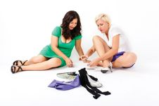Two Women Play Cards Royalty Free Stock Photos