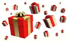 Free Colored Gift Boxes On A White Background Royalty Free Stock Images - 16174069