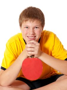 Free Teenage In Yellow T-shirt With Ping Pong Rocket Royalty Free Stock Photos - 16174098