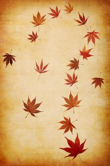 Free Abstract Grunge Autumn Background With Leaves Stock Photography - 16174282