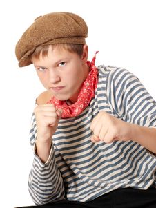 Ready To Fight Teenage Dressed In Seaman Shirt Royalty Free Stock Photo