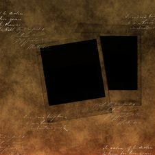 Blank Photo Frames On Old Paper Stock Photography