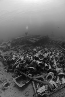 Free Low Angle View Of Underwater Wreckage Stock Photography - 16175062