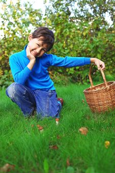 Free Little Boy With Mushrooms Royalty Free Stock Image - 16176166