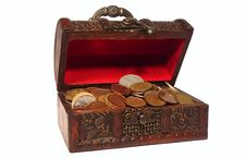 Free Wooden Chest With Coins Stock Photography - 16176652