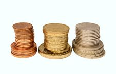 Free Piles Of Coins Isolated Royalty Free Stock Image - 16176786