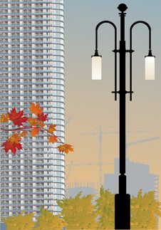 Free Skyscraper And Street Lamp Illustration Royalty Free Stock Images - 16176979