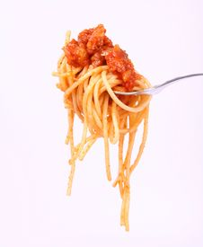 Spaghetti Bolognese On A Fork Royalty Free Stock Image