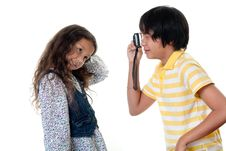 Children Take Photos Digital Stock Photo