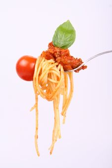 Free Spaghetti Bolognese On A Fork Stock Image - 16177541