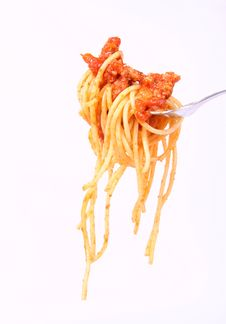 Spaghetti Bolognese On A Fork Stock Photography