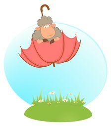 Free Sheep Sheep Flies On An Umbrella Stock Photo - 16178070