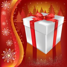 Free Christmas Gift On A Red Royalty Free Stock Image - 16178626