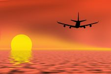 Free Airplane On Sunset Sky Royalty Free Stock Images - 16178739